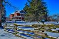 Картинка зима, небо, снег, деревья, дом, забор, Канада