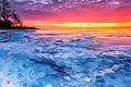 Картинка лед, озеро, зарево, Северная Америка, Эри