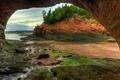 Картинка природа, скалы, отлив, Канада, грот, Нью-Брансуик, Сент-Мартинс