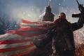 Картинка война, башня, флаг, воин, арт, автомат, Homefront: The Revolution