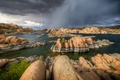 Картинка гроза, тучи, озеро, камни, молния, США, Arizona