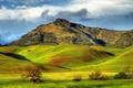 Картинка зелень, солнце, облака, горы, холмы, поля, Калифорния