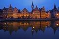 Картинка ночь, огни, отражение, дома, Бельгия, Гент