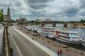 Картинка мост, река, корабль, Германия, Дрезден, Эльба, набережная