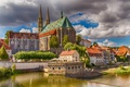 Картинка облака, река, дома, Германия, Саксония, Гёрлиц, Церковь Святых Петра и Павла