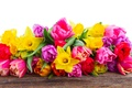 Картинка bouquet, tulips, flowers, тюльпаны, colorful