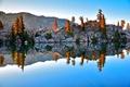 Картинка осень, деревья, озеро, отражение, скалы