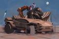 Картинка дизайн, пустыня, ракета, палатка, Футуристический автомобиль