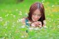 Картинка поле, лето, девушка, улыбка
