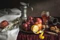 Картинка вино, лимон, яблоко, бокалы, виноград, фрукты, орехи