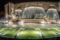 Картинка ночь, огни, Португалия, Лиссабон, монументальный фонтан, светящийся фонтан