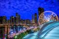 Картинка озеро, здания, Чикаго, Иллинойс, ночной город, Chicago, Illinois