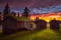 Картинка поле, закат, домики