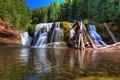 Картинка солнечно, бревна, водопад, деревья, мох, Вашингтон, зелень