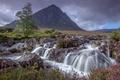 Картинка трава, облака, горы, ручей, камни, дерево, водопад