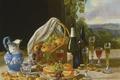Картинка стол, вино, корзина, кувшин, фрукты, John F. Francis