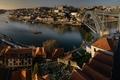 Картинка мост, река, дома, панорама, Португалия, Порту