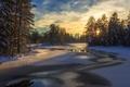 Картинка зима, свет, река, утро