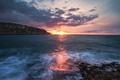 Картинка море, небо, солнце, облака, рассвет, берег, горизонт