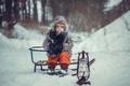 Картинка зима, мальчик, санки