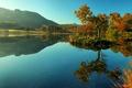 Картинка осень, деревья, горы, озеро, отражение, поля, Англия