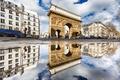 Картинка отражение, Франция, Париж, дома, ворота, арка, Сен-Мартен