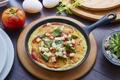 Картинка яйца, завтрак, сыр, помидор, базилик, омлет