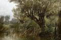 Картинка деревья, пруд, картина, Пейзаж, Карлос де Хаэс