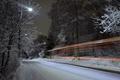 Картинка зима, дорога, огни