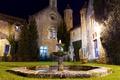 Картинка ночь, дом, Франция, двор, фонтан, Vaux de Cernay
