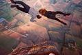 Картинка девушка, воздушный шар, пара, полёт, парень