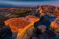 Картинка закат, камни, скалы, каньон, США, Theodore Roosevelt National Park