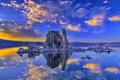 Картинка облака, пейзаж, озеро, скалы, зарево