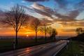 Картинка дорога, закат, природа