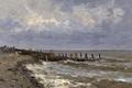 Картинка берег, картина, причал, морской пейзаж, Карлос де Хаэс, Море в Виллервиле
