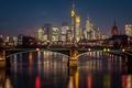 Картинка ночь, мост, огни, река, дома, Германия, фонари
