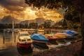 Картинка облака, лучи, горы, озеро, лодка, Швейцария