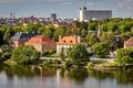 Картинка деревья, река, дома, Стокгольм, Швеция