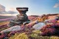 Картинка камни, трава, небо, облака, Великобритания, кусты, Derwent Edge