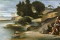 Картинка картина, мифология, Пейзаж со Святым Иоанном Богословом, Фра Хуан Батиста Маино