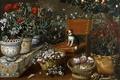 Картинка цветы, дерево, картина, плоды, стул, вазон, Томас Хепес