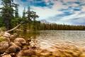 Картинка лес, вода, горы, озеро, камни