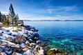 Картинка зима, небо, снег, деревья, озеро, камни, голубое