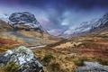 Картинка трава, горы, ручей, камни, долина, Великобритания, Yorkshire