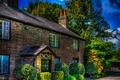 Картинка деревья, дизайн, дом, Англия, HDR, обработка, кусты