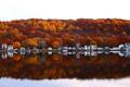 Картинка осень, река, дома