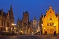 Картинка ночь, огни, дома, Бельгия, Гент