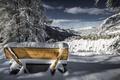 Картинка зима, снег, скамья