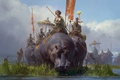 Картинка арт, бегемот, поход, отряд, Tianhua Xu, фЭнтези