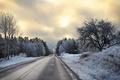 Картинка зима, дорога, вечер